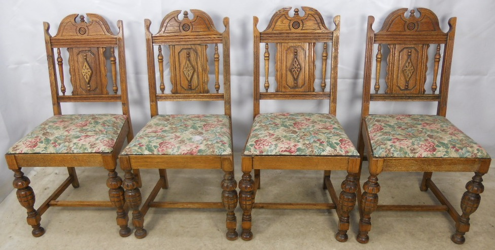 Set of Four Antique Style Carved Oak Dining Chairs - SOLD - Of Four Antique Style Carved Oak Dining Chairs - SOLD